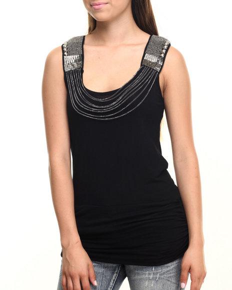 Ur-ID 219902 Vertigo - Women Black Draped Chain Keyhole Back Knit Tunic