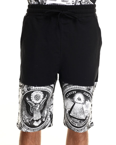 Buyers Picks - Men Black All Over Money Print Drawstring Shorts