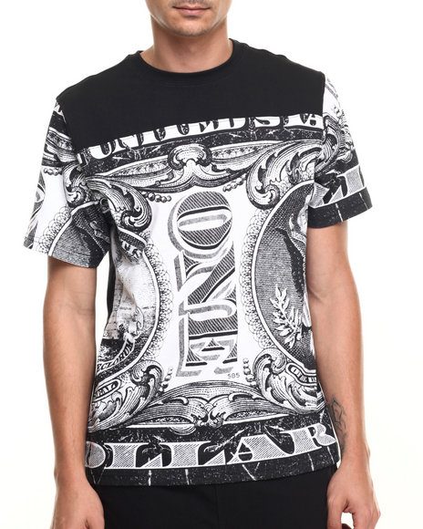 Buyers Picks - Men Black All Over Money Print S/S Tee