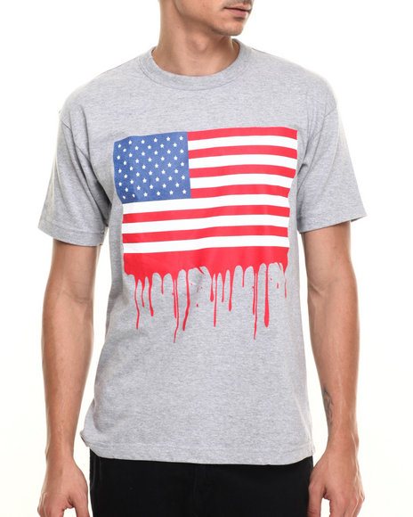 Graf-X Gallery - Men Grey Flag S/S Tee - $4.99