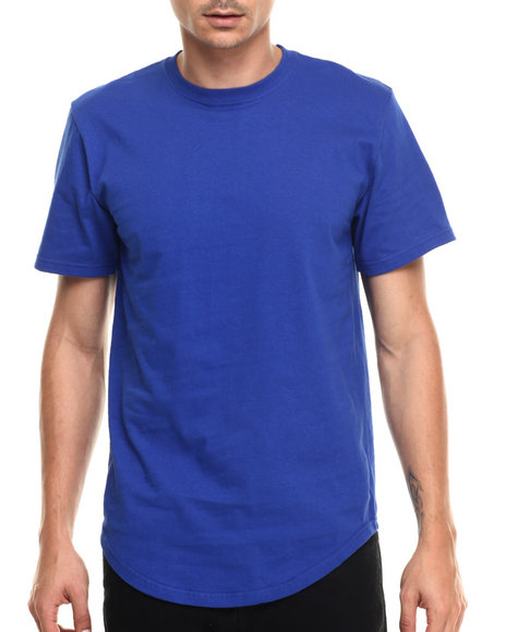 Buyers Picks - Men Blue Scallop Bottom Detail S/S Tee