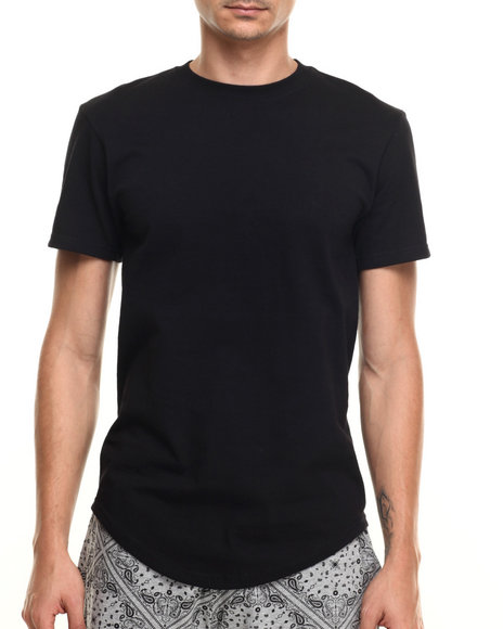 Buyers Picks - Men Black Scallop Bottom Detail S/S Tee
