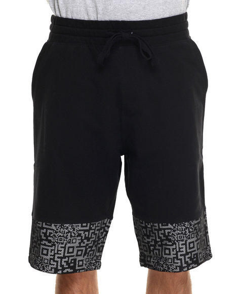 Buyers Picks - Men Black Mesh Scan Print Draw-String Shorts