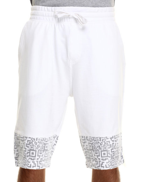 Buyers Picks - Men White Mesh Scan Print Draw-String Shorts