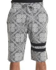 Men - Bandana Print drawstring shorts