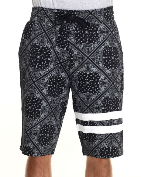 Buyers Picks - Men Black Bandana Print Drawstring Shorts - $12.99