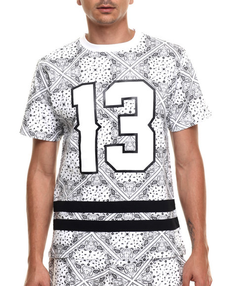 Buyers Picks - Men White Bandana Print Athletics S/S Tee