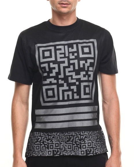 Buyers Picks - Men Black Mesh Scan Print S/S Tee