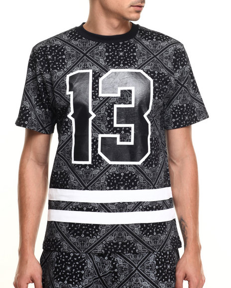 Buyers Picks - Men Black Bandana Print Athletics S/S Tee - $19.99
