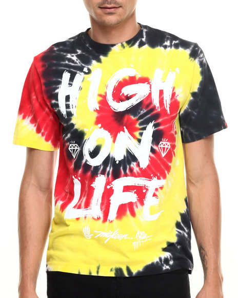 Ur-ID 219934 Miskeen - Men Black,Multi High On Life Tye Dye S/S Tee