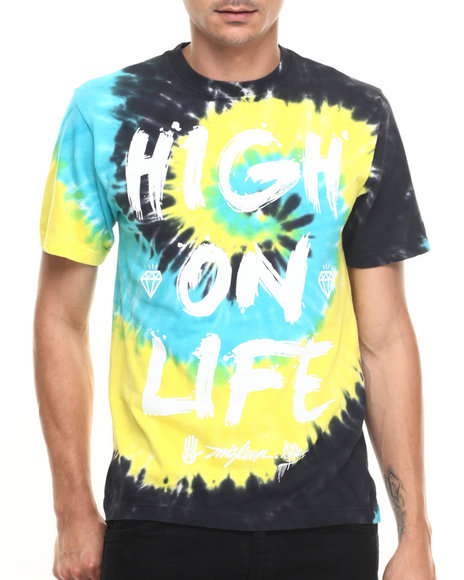 Ur-ID 219939 Miskeen - Men Black,Multi High On Life Tye Dye S/S Tee