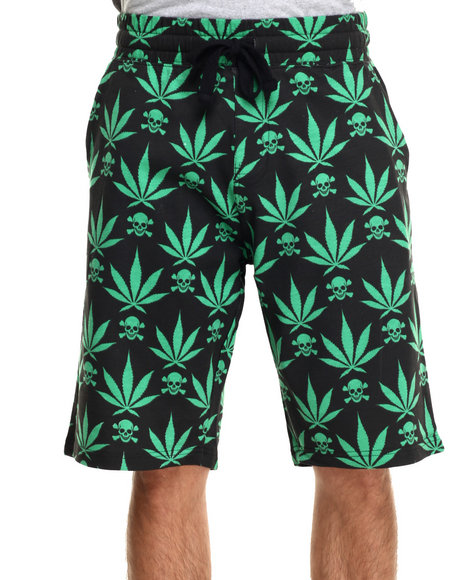 Ur-ID 219908 Buyers Picks - Men Green 4/20 Leaf Print Draw-String Shorts