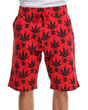 Men - 4/20 Leaf Print draw-string shorts