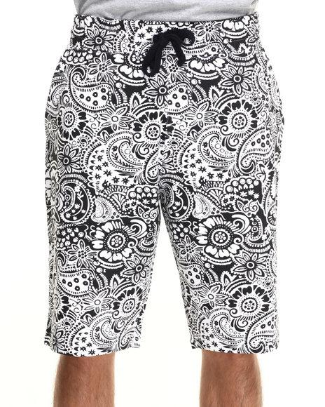 Ur-ID 219924 Buyers Picks - Men Black Paisley All Over Print Drawstring Shorts
