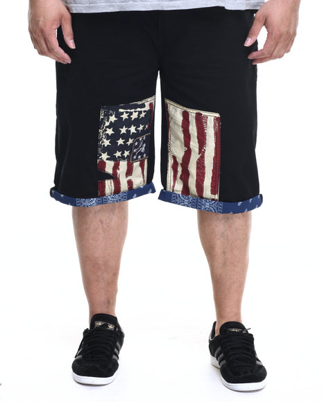Ur-ID 219558 Winchester - Men Black Monmouth Flag & Bandana Denim Shorts (B&T)