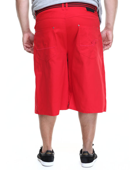 Ur-ID 219592 Enyce - Men Red High Road Cotton Twill Belted Short (B&T)