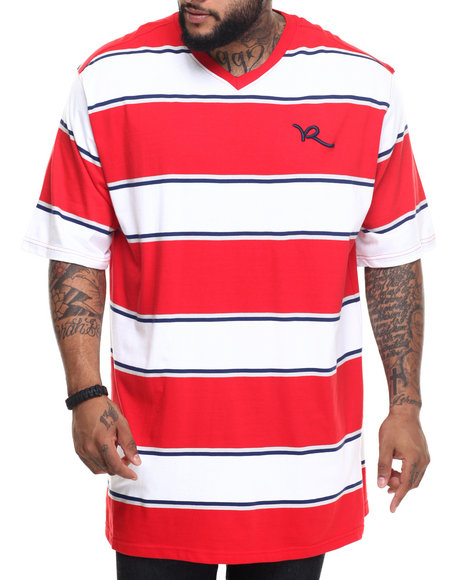Rocawear - Men Red Buster V-Neck Tee (B&T) - $40.00