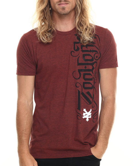 Ur-ID 220005 Zoo York - Men Maroon Urbanography S/S Tee