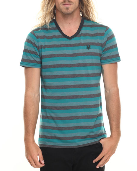 Ur-ID 220030 Zoo York - Men Green Figment Striped V-Neck S/S Tee