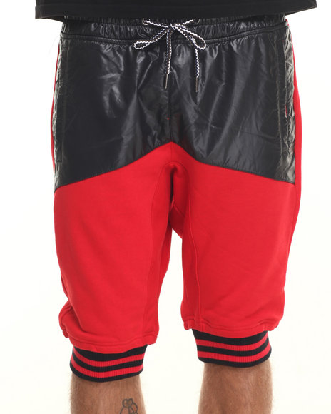 Rolling Paper - Men Red Nylon Mix Shorts