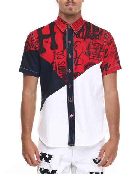 Ur-ID 219948 Heritage America - Men White Color Print S/S Button-Down