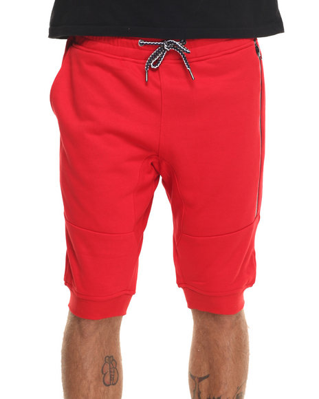 Rolling Paper - Men Red Seam Seal Zipper Jogger Shorts