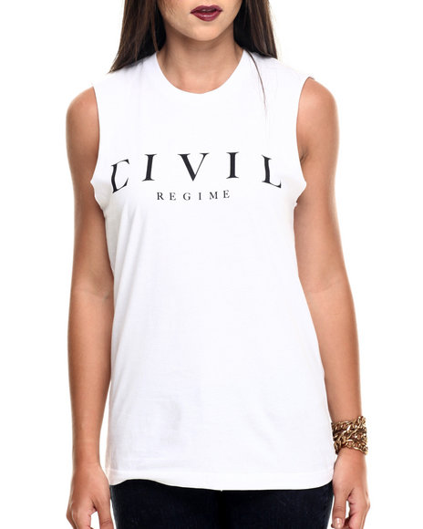 Ur-ID 219825 Civil - Women White Fierce 08 Muscle Tee