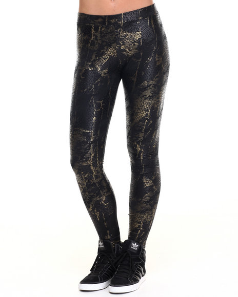Vertigo - Women Black,Gold Gold Foil Python Liquid Legging