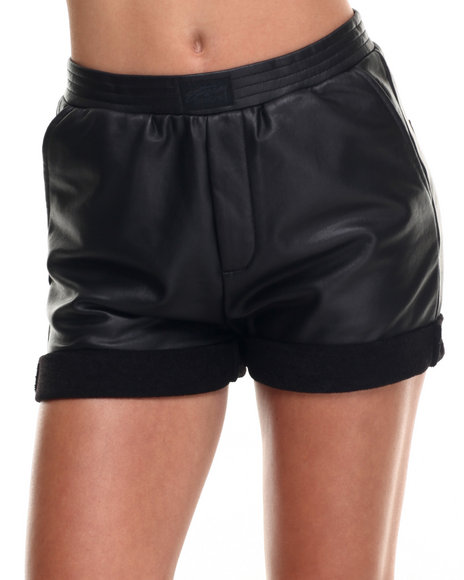 Stussy - Women Black Coated Terry Shorts