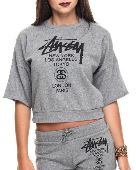 Ur-ID 220056 Stussy - Women Grey World Tour S/S French Terry Crew Sweatshirt