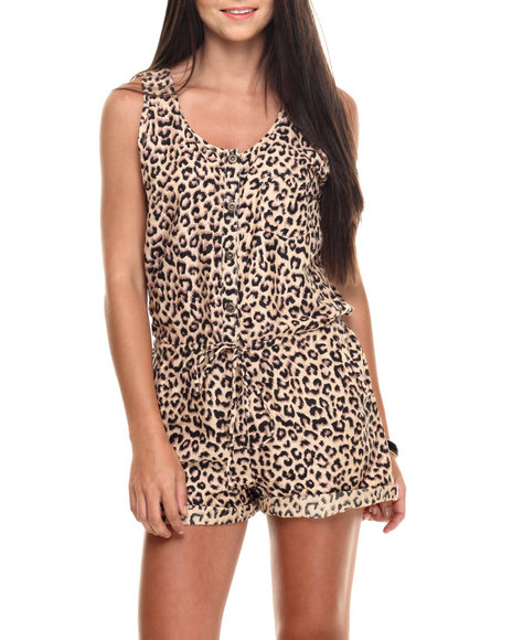 She's Cool - Women Brown Animal Print Challi Romper
