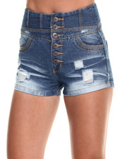 Shorts - High Waisted Destructed Denim Short