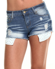 Shorts - Peek-A-Boo Studded Pocket Denim Short