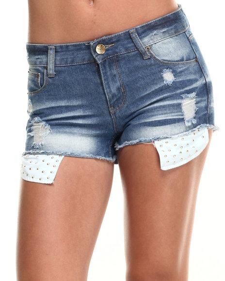 Ur-ID 220090 Basic Essentials - Women Medium Wash,Medium Wash Peek-A-Boo Studded Pocket Denim Short