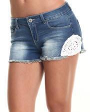 Shorts - Crochet Detail Denim Short