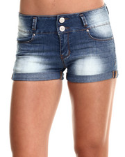 Shorts - High Waisted Roll Cuff Denim Short
