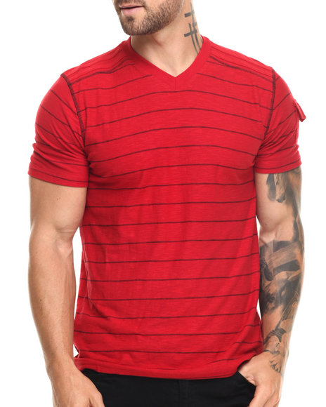 Buyers Picks - Men Red Pinstripe V-Neck Tee