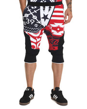 Men - S Q Z Multi - Triangle Flag Print French Terry Jogger Shorts