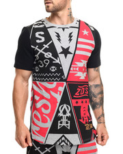 Men - S Q Z Multi - Triangle Flag Print S/S Tee