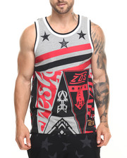 Men - S Q Z Multi - Triangle Flag Print Tank Top