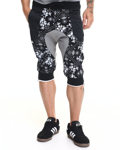 Buyers Picks - Men Black M C M X I V Floral Fleece Shorts