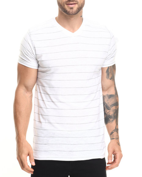 Buyers Picks - Men White Pinstripe V-Neck Tee