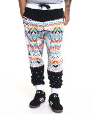 Men - Navajo - Printed Mesh - Trimmed French Terry Joggers