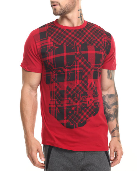 Ur-ID 220097 Buyers Picks - Men Red Plaid Skull Tee
