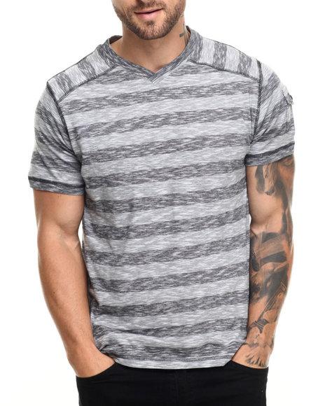 Ur-ID 220099 Buyers Picks - Men Grey Marc Stripe V-Neck Tee