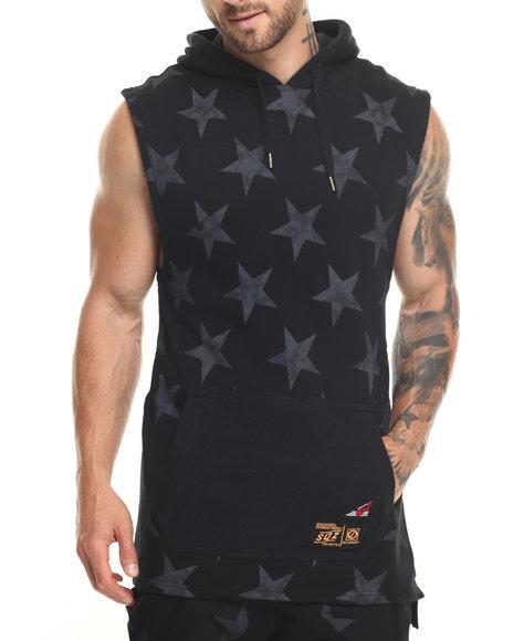 Ur-ID 220111 Buyers Picks - Men Black Stars Printed S/S Hoodie