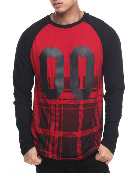 Buyers Picks - Men Red Faded # Raglan