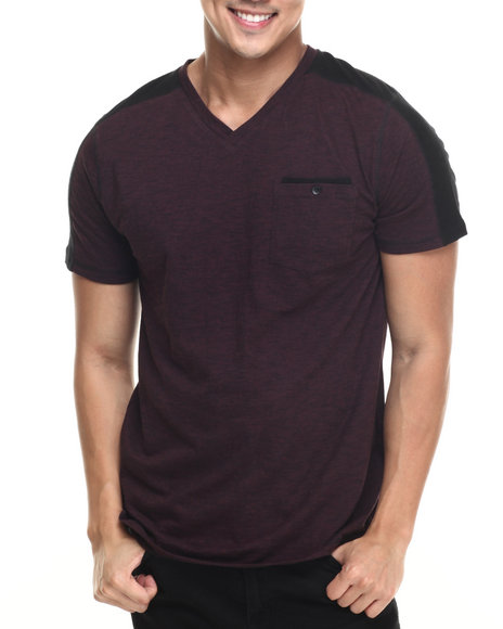 Buyers Picks - Men Maroon Noir S/S Stripe V-Neck Tee