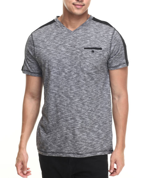 Buyers Picks - Men Black Noir S/S Stripe V-Neck Tee
