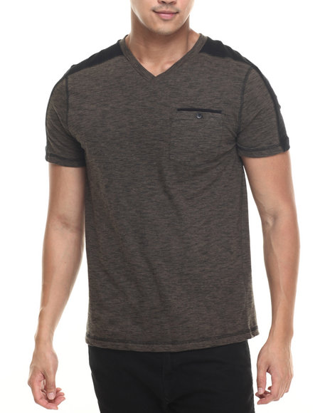 Buyers Picks - Men Olive,Olive Noir S/S Stripe V-Neck Tee